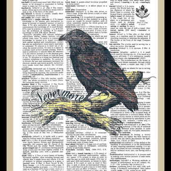 Buy Any 2 Prints Get 1 Free Nevermore Edgar Allan Poe  Vintage Dictionary Art