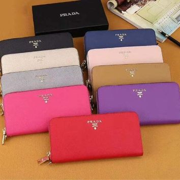 Prada New Fashion Women Leather Zipper Wallet Purse