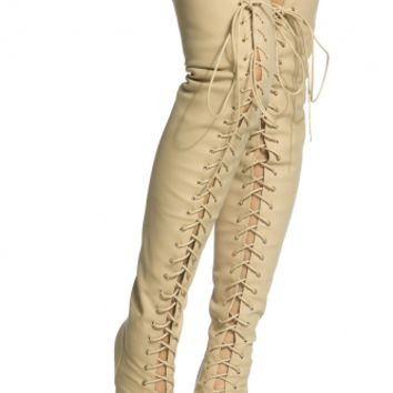 Nude Woven Lace Up Open Toe Thigh High Boots @ Cicihot Boots Catalog:women's winter boots,leather thigh high boots,black platform knee high boots,over the knee boots,Go Go boots,cowgirl boots,gladiator boots,womens dress boots,skirt boots.