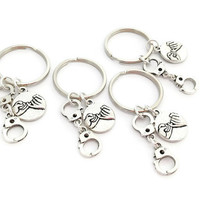 4 Best Friend Keyrings, Pinky Promise, Partners in Crime, Pinky Swear, Handcuff Keychains, Gifts For BFF, Xmas Present For Sisters