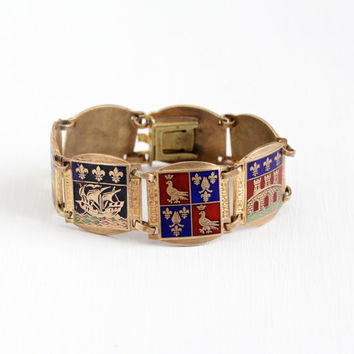 Vintage Brass Enamel French Panel Bracelet - 1930s Historical Provinces Saintonge Souvenir Paris France Coat of Arms Fleur De Lis Jewelry