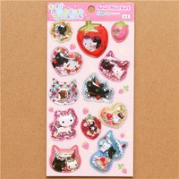 Kutusita Nyanko cat glitter capsule stickers strawberries - San-X Stickers - Sticker - Stationery