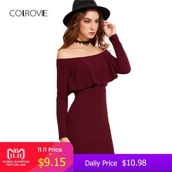 COLROVIE Long Sleeve Mini Dress Womens Autumn Winter Dresses Women Sexy Party Burgundy Off Shoulder Ruffle Bodycon Dress