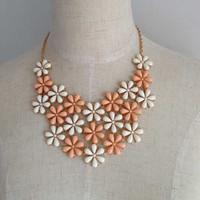 Flower Bib Necklace, Bib Statement Necklace, Floral Necklace, Bridesmaid Necklace