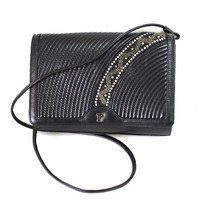 Vintage Bag Black Leather Stitched Beaded Swarovski Crystal Made in Paris Crossbody purse