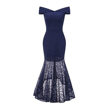 Women's One-Shoulder Strapless Lace Fishtail Sexy Bag Hip Slim Dress casual Vintage