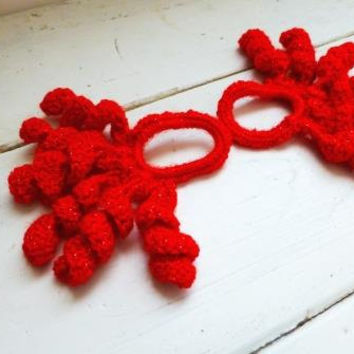 Crochet Curly Q Hair Ties : , crochet scrunchies, hair accessories, red scrunchies, curly crochet ...