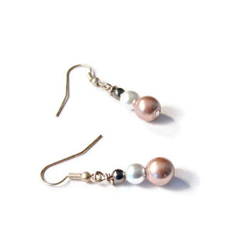 Black, Bronze, and Silver Pearl Hematite Magnetic Therapy Earrings