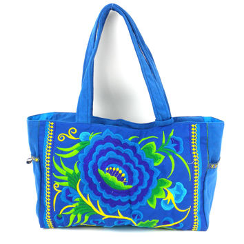London Rose Hand Embroidered Shoulder Bag - Blue