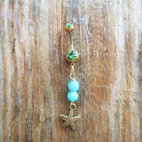 Starfish Belly Button Ring, Gold Navel Ring, Belly Button Jewelry, Body Jewelry, Beach Nautical Charm, 14g Barbell, Belly Piercing.