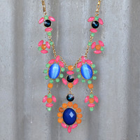 Gypsy Garden Faceted Jewel Statement Necklace