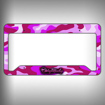 Pink Camo Custom Licence Plate Frame Holder Personalized Car Accessories