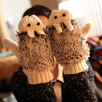 Women Ladies Warm Ladies Double-Deck Mittens Knitted Hedgehog Gloves