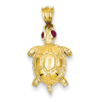 14k Turtle with Ruby Eyes Pendant K343