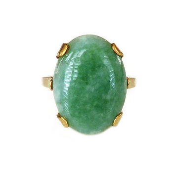 Clark and Coombs Ring, Jade Jadeite, 10K Gold Filled, Mid Century, Statement Ring, Vintage Jewelry, Size 7.25