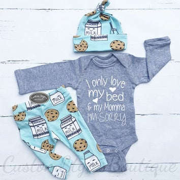 Baby Boy Coming Home Outfit, Milk and Cookies, Teal Leggings And Hat, Baby Boys Coming Home, Baby Boy, Hospital Outfit, Grey Bodysuit