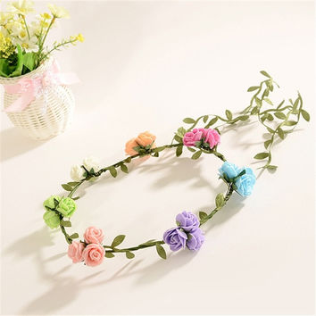 Bride Bohemian Foam Rose Flower Headband Festival Wedding Garland Hair Band Headwear Hair Accessories