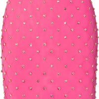 Moschino - Embellished quilted crepe mini skirt