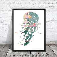 Jellyfish 3 , Watercolor Print, watercolor painting, watercolor art, Illustration,  home decor wall art, shell art, watercolor animal,