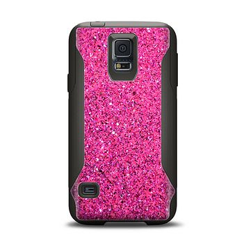 The Pink Sparkly Glitter Ultra Metallic Samsung Galaxy S5 Otterbox Commuter Case Skin Set