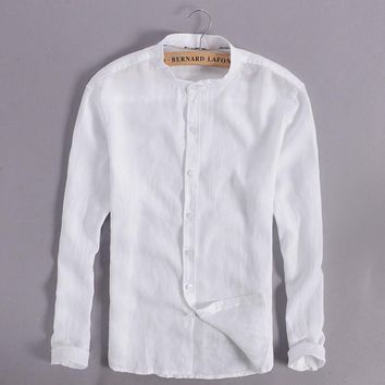 100% Linen White Shirt Men Casual Long Sleeve Men Shirts Chinese Collar Mens Shirt Fashion Slim Shirts Mens Brand Camisa M-3XL