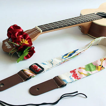 Ukulele strap & ribbon lei / hula girl w / ukulele strap / hawaiian fabric  /ukulele accessory / hawaiian ribbon lei / instrument strap