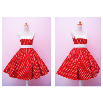 Vintage Red Polkadot Halter Swing Rockabilly Dress, Plus Size Pin Up 50s Girl Party Dress