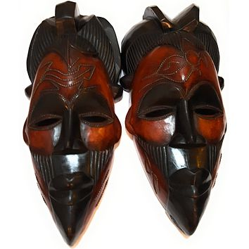"16"" African Wood Mask: Black and Brown"