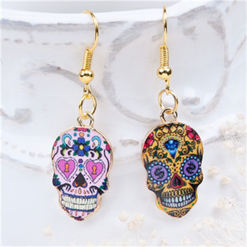 Gold Plated Sugar Skull Pattern Earrings