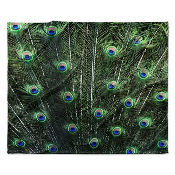 "Robin Dickinson ""Glory"" Peacock Green Fleece Throw Blanket"