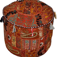 Round Bohemina Ottoman Pouf Ottoman decorative Cushion Ethnic Indian Decor bohemian stool chair pouffe pouffes Indian floor PILLOW bean bag