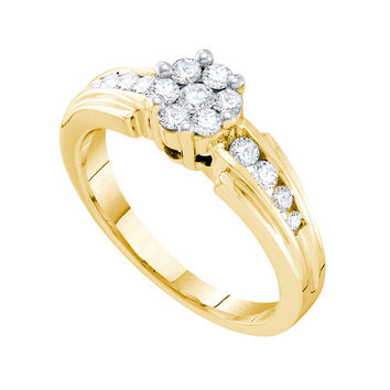 Diamond Flower Ring in 14k Gold 0.5 ctw