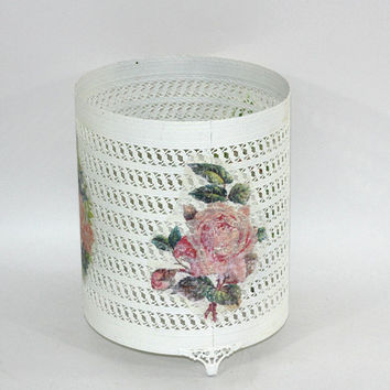 Vintage Hollywood Regency Trash Can Cover Painted White | Shabby Chic Style | Vintage Bath Decor | Vintage 60's | Repurpose to Vase
