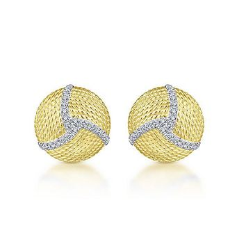 14K Yellow Gold Pave Diamond Roped Disc Stud Earrings