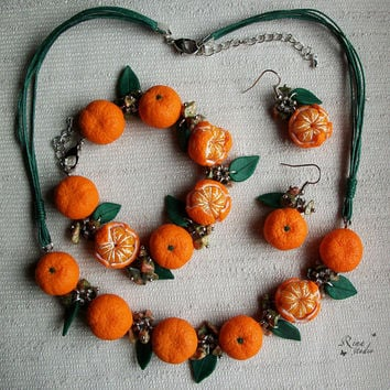 Tangerine Jewelry Set Necklace Earrings Bracelet Mandarin Polymer Clay