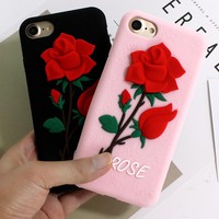 Beautiful Rose Flower Cover For Apple iphone 6 6S Plus 7 7 Plus Silicon Soft Case For iphone 7 6 6s Phone Cases Fundas Capa