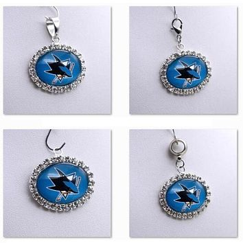 Pendant Charms Rhinestone NHL San Jose Sharks Charms for Bracelet Necklace for Women Men Ice Hockey Fans Paty Fashion 2017