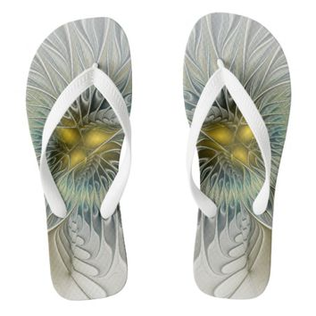 Golden Flower Fantasy, abstract Fractal Art Flip Flops