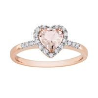 10k Rose Gold 1/10-ct. T.W. Diamond & Morganite Heart Ring