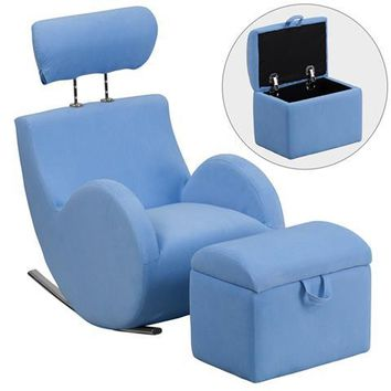HERCULES Series Light Blue Fabric Rocking Chair with Storage Ottoman