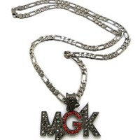 "New Iced Out Machine Gun 'MGK' Pendant &24"" Figaro Chain Fashion Necklace MZ89G"