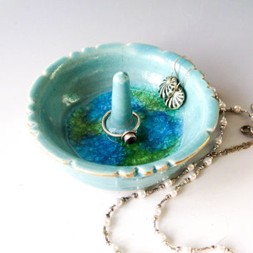 Small Ceramic Ring Holder - Turquoise Ring Dish - Handmade Pottery