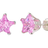Pink Star Earrings CZ Studs 925 Silver