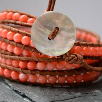 Coral Distressed Leather Wrap Bracelet - Chan Luu Inspired - 5 Wraps