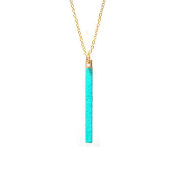 Vertical Aqua Green Bar Necklace / Thin Stick Necklace / Simple Mint Necklace / Vertical Bar / Minimal Necklace / N125