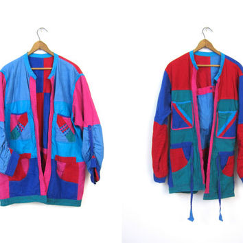 Vintage 80s Colorblock Jacket URBAN Color Block Coat Retro Reversible Patchwork Cotton Jacket Streetwear Tie Waist Hipster Red Purple Pink