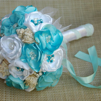 Beach wedding bouquets, sea shell bouquet, seaside bouquet, bridal bouquet, bridesmaid bouquet, bouquet of flowers