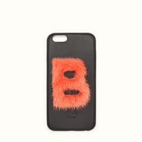 FENDI | ABCOVER B IPhone cover in leather and coral-pink fur