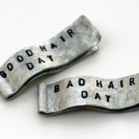 2 Custom SILVER Hair Clips, WIDE Aluminum Barrettes, Handstamped Writing, Hair Jewelry