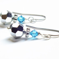 Swarovski Metallic Silver and Blue Earrings, Surgical Steel Earrings, Blue Earrings